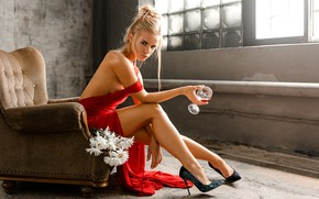 Picture look, girl, flowers, pose, mood, feet, glass, chamomile, chair, shoes, red dress, Svetlana, Eugene Marklew