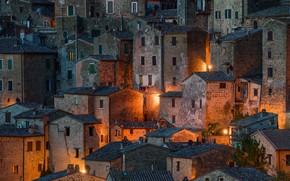 Wallpaper night, the evening, Sorano, Tuscany, lights, the city, home, Italy, light