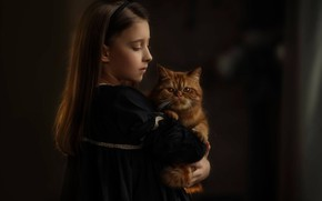 Picture portrait, girl, red cat