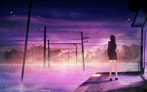 Picture the sky, girl, snow, fog, station, the evening, power lines