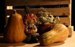 Picture tree, village, box, orange, pumpkin. autumn, still life on a rural theme