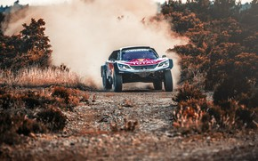 Picture Auto, Dust, Sport, Machine, Speed, Race, Peugeot, Lights, Red Bull, Rally, Dakar, Dakar, SUV, Rally, …