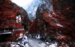 Picture road, mountains, river