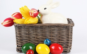 Picture flowers, eggs, spring, rabbit, Easter, tulips, spring, Easter, painted, basket, Holidays, Tulips, Rabbits