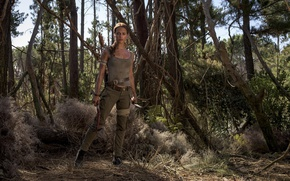 Picture cinema, film, Lara Croft, girl, woman, 2018, movie, Alicia Vikander, forest, Tomb Raider