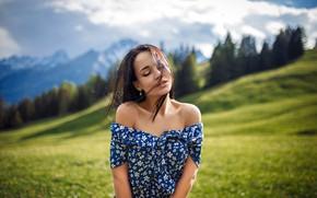 Wallpaper landscape, bokeh, nature, lips, meadow, mountains, field, long hair, model, closed eyes, strapless, bare shoulders, ...