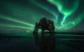 Picture beach, stars, night, nature, rock, rocks, Northern lights, figure
