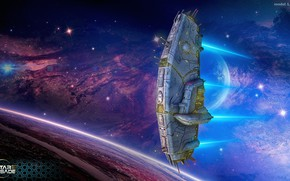 Picture transport, planet, stars, some ship, cosmos