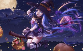 Picture girl, the moon, Halloween, Vocaloid, witch