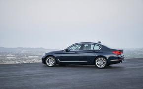 Picture the sky, mountains, BMW, sedan, Playground, xDrive, 530d, Luxury Line, 5, dark blue, four-door, 2017, …