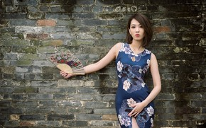 Picture girl, wall, Asian