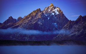 Picture clouds, mountains, Wyoming, USA, Grand Teton, National Park