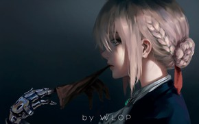 Wallpaper girl, fantasy, anime, blue eyes, blonde, digital art, artwork, braids, glove, anime girl, Wlop, Fate ...