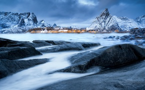 Picture winter, snow, mountains, stones, excerpt, Norway, the village, the fjord