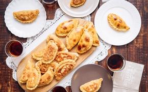 Picture plates, drink, cakes, empanadas