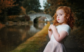 Picture water, bridge, nature, Park, girl, red, curls, child, pond