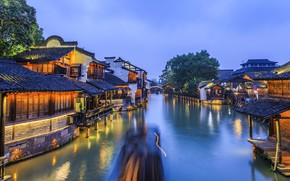 Picture Home, Lights, River, Village, China