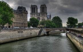 Picture bridge, river, France, Paris, Hay, Notre Dame Cathedral