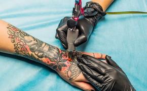 Picture design, tattoo, gloves, tattoo machine