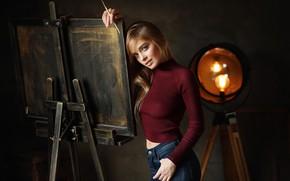 Picture girl, easel, Katerina, Dmitry Arhar