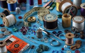 Wallpaper button, thimble, centimeter, pin, needle, sewing, scissors, thread