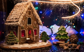 Picture design, holiday, New Year, Christmas, cakes, gingerbread house