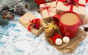 Picture snow, decoration, tree, coffee, New Year, Christmas, Cup, gifts, sweets, Christmas, bumps, snow, Merry Christmas, …