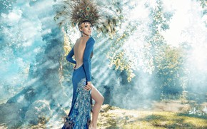 Wallpaper style, model, makeup, costume, girl, forest, dress, peacock feathers