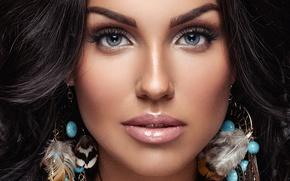 Picture fashion, blue eyes, brunette, Make-up, makeup