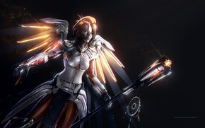 Picture game, mecha, weapon, angel, tenshi, Overwatch, Mercy
