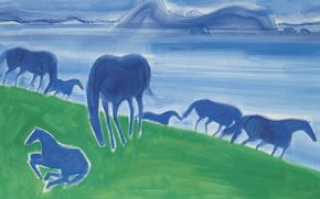 Picture landscape, picture, Andre Brasilier, Blue Horse
