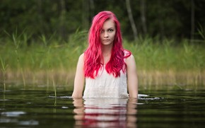 Picture water, face, model, hair, red