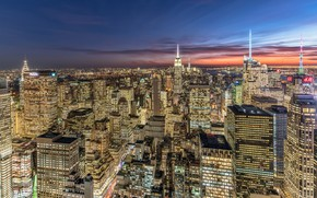 Wallpaper USA, New York, panorama, home, night, lights