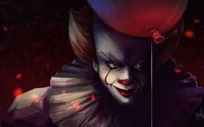 Picture the film, clown, the demon, a balloon, It, Pennywise