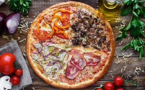 Wallpaper greens, mushrooms, cheese, meat, pizza, tomatoes