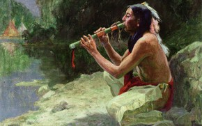 Picture the river, Eanger Irving Couse, The Call of the Flute, the flute