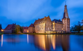 Picture pond, castle, the evening, Germany, Raesfeld