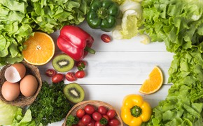 Picture greens, Vegetables, fruit, citrus
