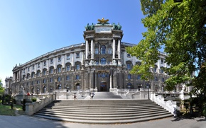 Picture trees, Austria, lights, ladder, architecture, Sunny, statues, Palace, Vienna, Imperial Palace, Hofburg