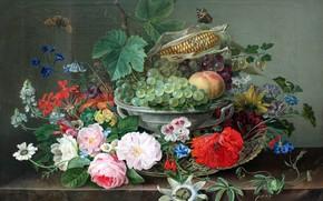 Picture butterfly, flowers, fruit, still life, Gottfried Wilhelm Voelcker