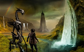 Picture mountains, the building, waterfall, romantically apocalyptic, you will find friendship within