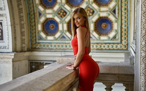 Picture ass, look, girl, pose, photo, red, hair, figure, dress, beautiful, the temptation, chic, Peter Paszternak