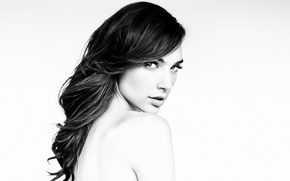 Picture look, model, makeup, actress, brunette, hairstyle, white background, black and white, Gal Gadot, Gal Gadot