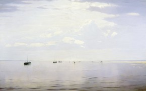 Picture landscape, picture, boats, Nikolay Dubovskoy, On The Volga