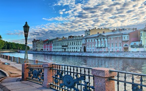 Picture bridge, river, dawn, lantern, granite, Fontanka, St. Petersburg, Fontanka embankment, summer sa