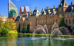 Picture Netherlands, fountains, Holland, The Hague, The Hague, Binnenhof, Binnenhof palace