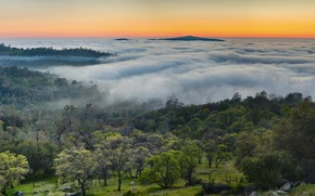 Picture mountains, fog, panorama, USA, USA, multi monitors, autumn in the mountains, Midpines, fog in the …