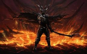 Wallpaper sword, armor, devil, ken, blade, evil, oni, bakemono