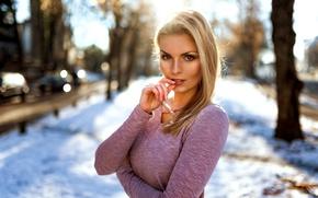Picture winter, look, girl, light, photographer, bokeh, Theresa, Miro Hofmann