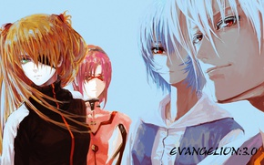 Picture glasses, red, guy, red eyes, Neon Genesis Evangelion, Evangelion, blue hair, Asuka Langley Soryu, Rei …